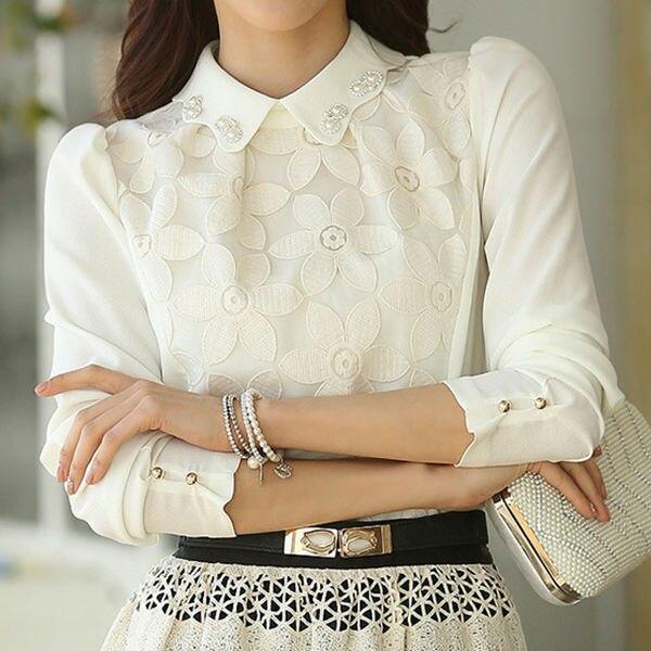 56b21aae4 Blusa de renda branca Blusa de renda escritório Blusa manga comprida blusas  feminina Blusa formal para