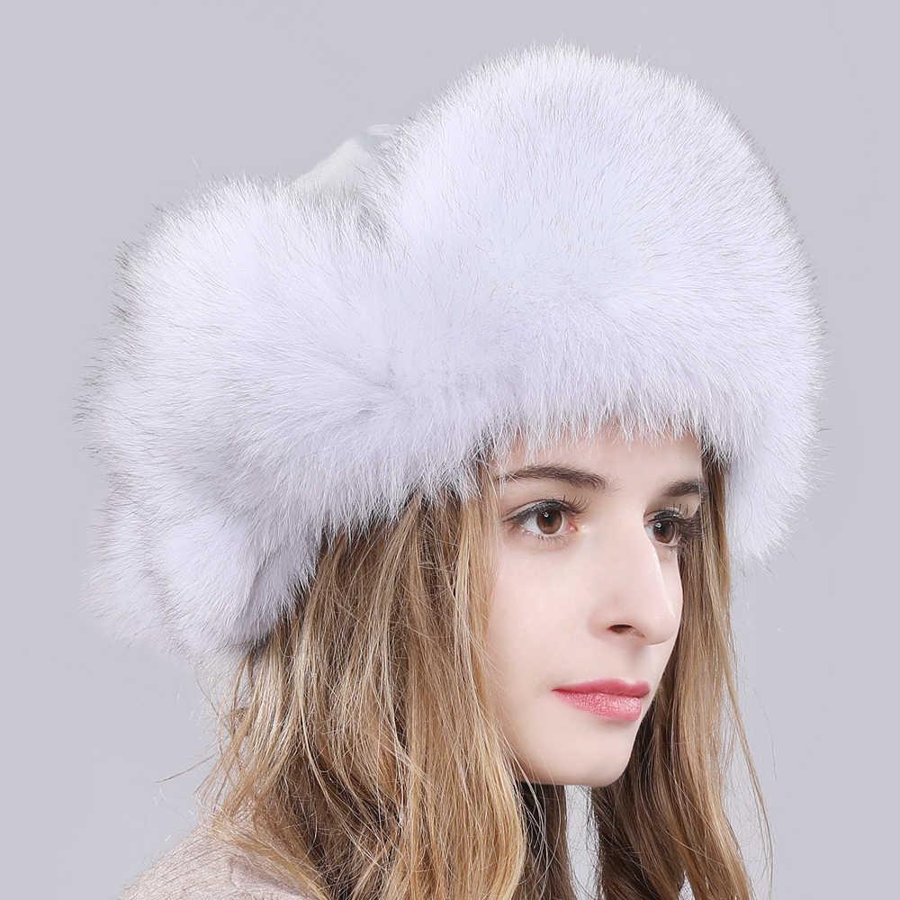 2019 Ao Ar Livre de Neve Verdadeira Pele De Raposa Chapéu Mulheres Natural Fox Fur Russo Ushanka Caps Inverno Quente Grosso Orelhas de Raposa Reais bombardeiros Chapéus de pele