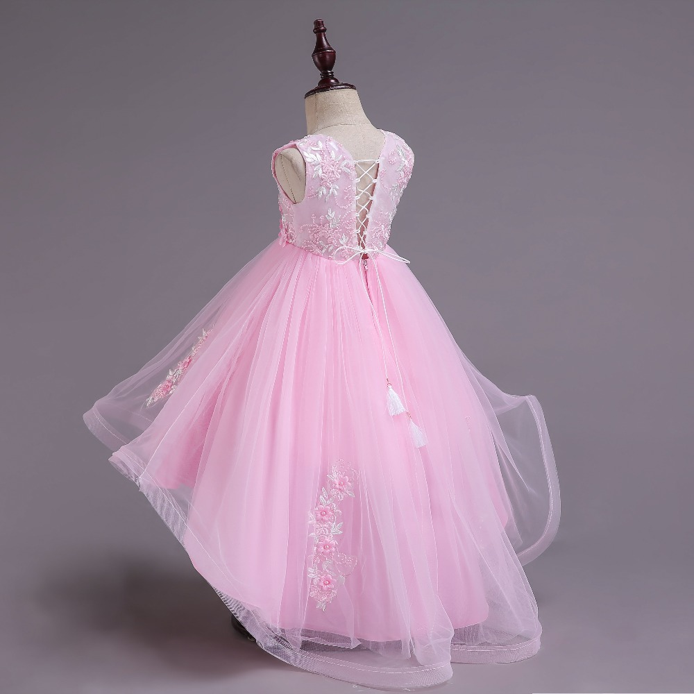 3-12 Y teenager Party   Dresses   Long tailing   Flower   Lace Tulle Kids   Girls   Elegant Wedding   Flower     Girl     Dress   Princess   girl     dress