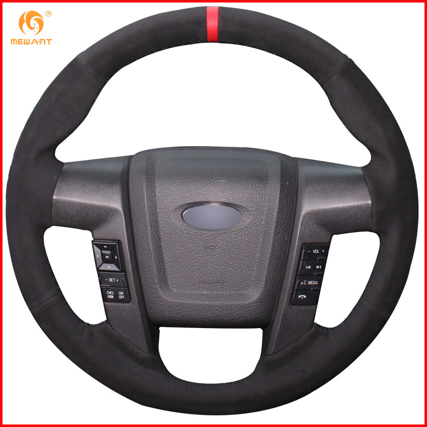 MEWANT Black Suede Red Marker Car Steering Wheel Cover for Ford F150 F 150 SVT Raptor