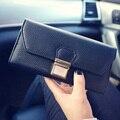 Pu Long Women Stripe Lock Wallet Casual Zipper Litchi Grain Clutches Bag Envelope Handbags Fashion Luxury Purse For Lady