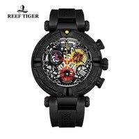 Reef Tiger/RT Роскошные Брендовые спортивные мужские часы с изображением скелета кварцевые часы хронограф часы с резиновым ремнем Montre Homme RGA3059 S