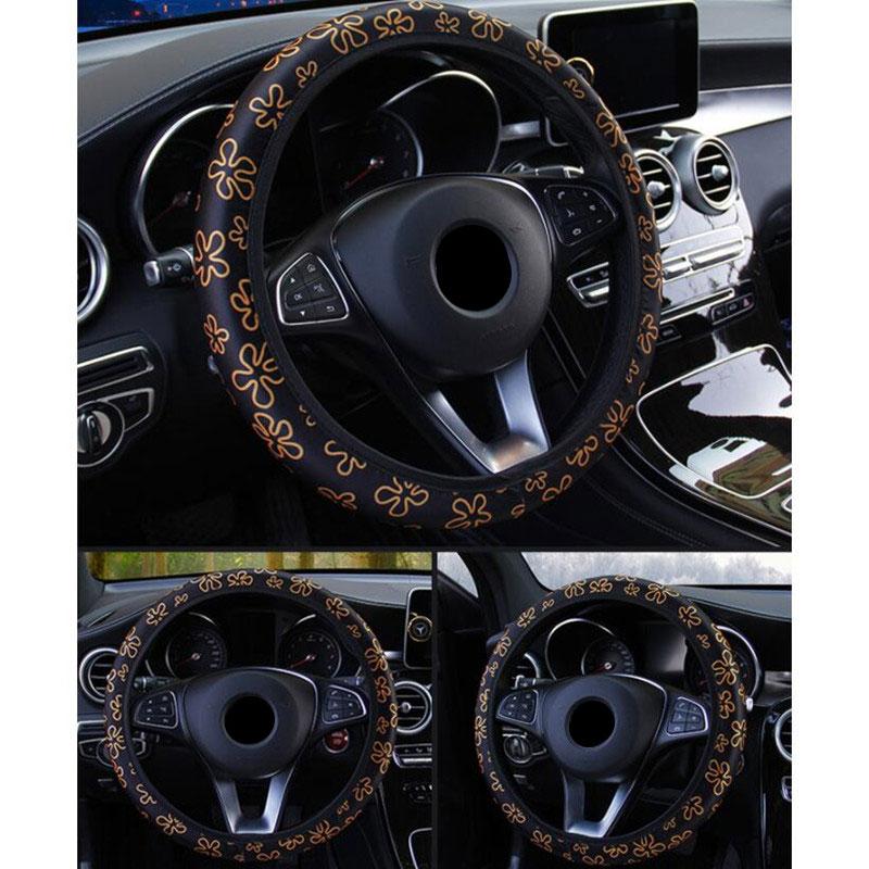 Image 5 - 38 см Руль крышка рулевого колеса автомобиля крышки для Для женщин колесо крышка с цветочным принтом противоскользящие принципиально Volante автомобильные аксессуары-in Чехлы на руль from Автомобили и мотоциклы on AliExpress