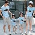 Лето Родитель-ребенок наряды семья одежда наборы спорт мать дочь семья посмотрите модальные Slub хлопок футболки + Брюки наряды