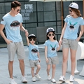 summer Parent-child outfits family clothing sets sports mother daughter family look modal Slub cotton T shirts + Pants Outfits