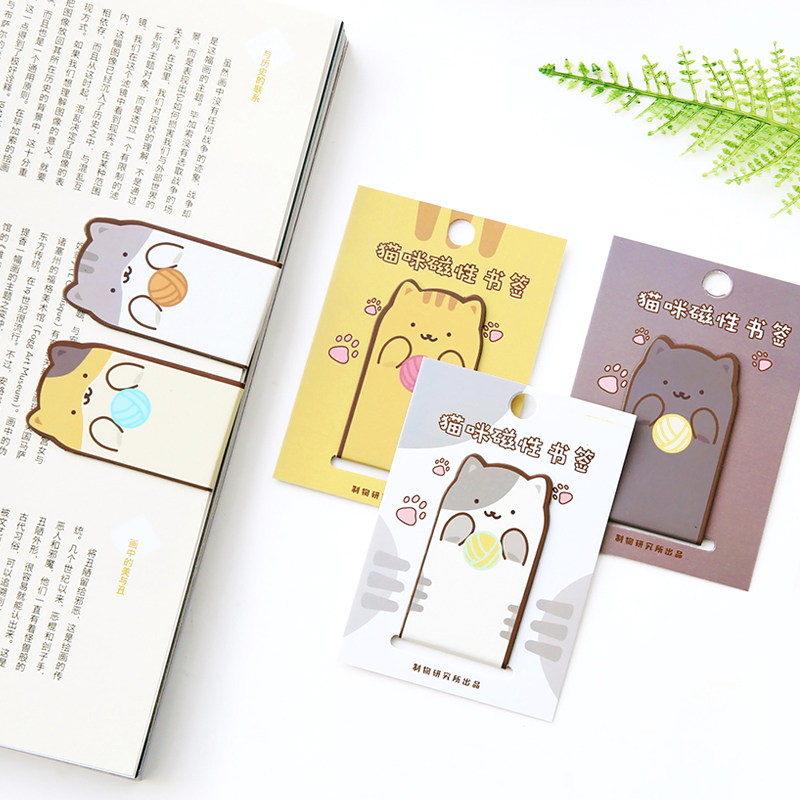 Creative Cartoon Magnetic Bookmarks Lovely Cat Mini Metal Book Clips Children Gift Stationery