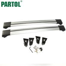 Partol Universal Car Roof Rack Cross Bar Roof Luggage Carrier Roof Rail Anti-theft Lock System 150LBS/68KG For 93 99 105 111cm