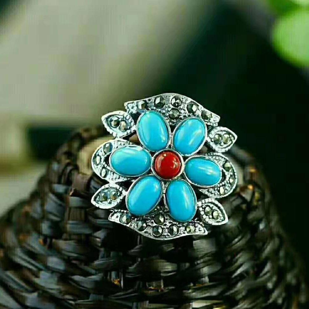 Bagues en argent RADHORSE 925 pour femmes bijoux fins bague réglable en argent Sterling avec modélisation de fleurs en Agate Turquoise