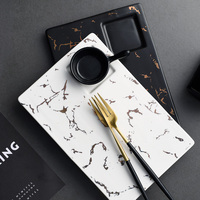 Marble Texture Ceramic Dish Steak Plates Cake Tray Cookie Dishes long plate serving tray marble pattern