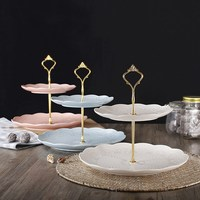 Crown design birthday cake rack European style ceramic dessert dish Afternoon tea cutlery Creative multi layer fruit plate
