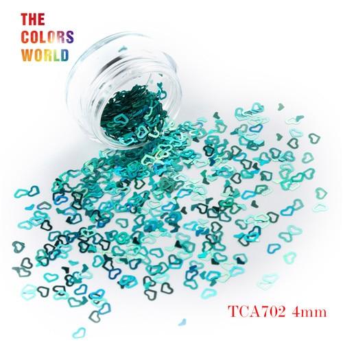 Tct-050 полые сердца Форма Лазерная красочные Глиттеры для ногтей 4 мм Размеры для ногтей Гели для ногтей украшения Макияж facepaint DIY украшения - Цвет: TCA702  50g