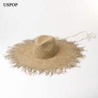 USPOP 2019 New large brim seaweed sun hats rough edges straw hats with windproof band women fashion beach hats