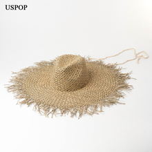 USPOP 2019 New large brim seaweed sun hats rough edges straw with windproof band women fashion beach
