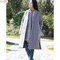 Tecidos de linho de algodão-acolchoado roupas grossas de inverno quente longo casaco cardigans retro moderno popular trench