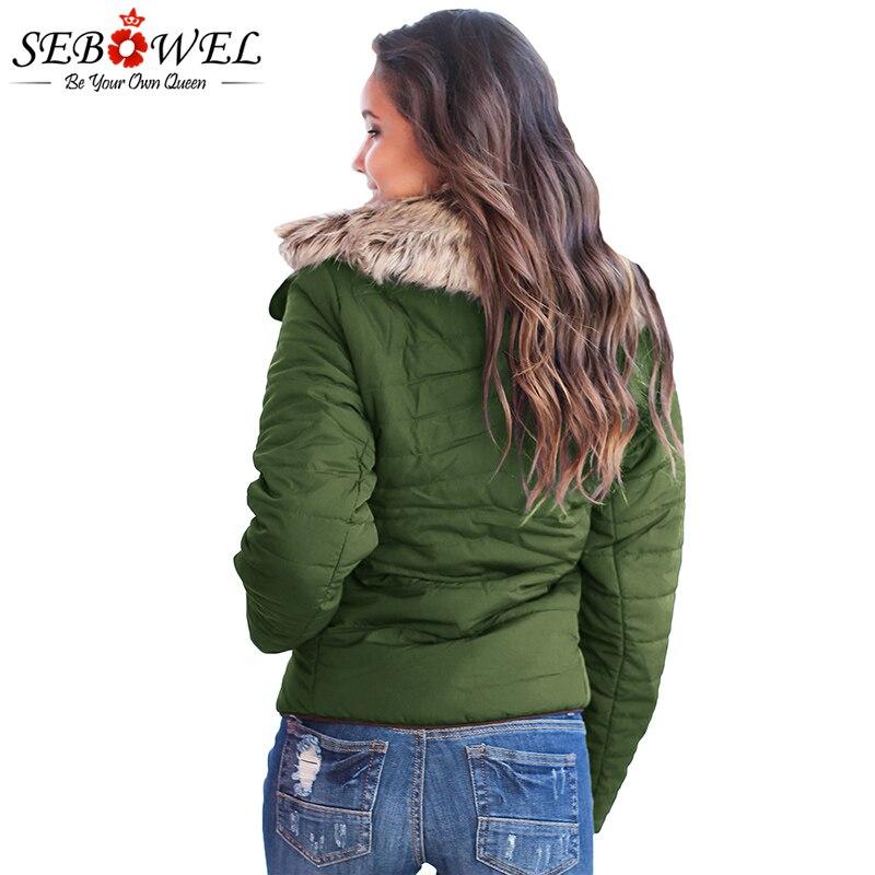 Verde Autunno Vestiti Sebowel Cappotto Femminile Il Inverno Sottile Più Pelliccia Di Dell'esercito Delle Donne verde Nero Del Breve Outwear Velluto Dell'esercito Caldo Faux Formato Giacca brown X5wf1qwp