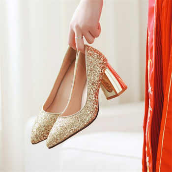 Plus Size 48 2019 Fashion Wedding Shoes Thick High Heels Pumps Pointed Toe Luxury Sequined Gold Silver Red Party Bridal Shoes