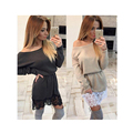 40%6893 Women Lady Casual Dresses Slash Neck Lace Patchwork Tunic Long Batwing Sleeve Mini Dress Vestidos Robe Courte Femme