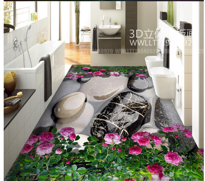 3d floor painting wallpaper pvc wallpaper 3d Stone flower floor living room bathroom 3D floor 3d wallpaper customized 3d photo wallpaper 3d floor painting wallpaper 3 d stereo floor tile only beautiful flowers 3d living room decoration