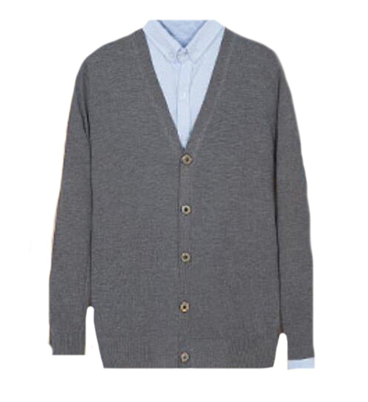 Vska Mens Casual Solid Slim Fit V Neck Button Up Cardigan Sweater ...