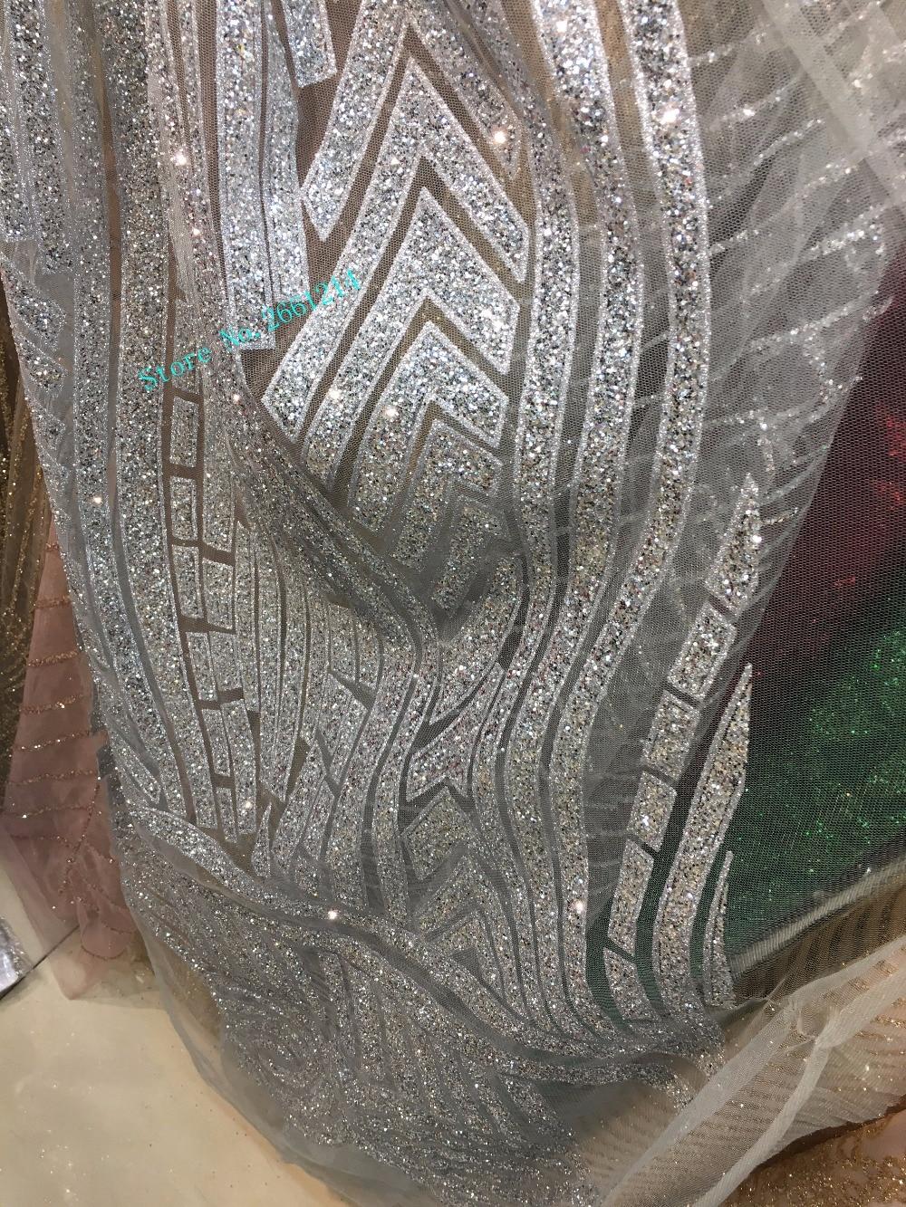 5yds/piezas lentejuelas especiales glued purpurina tela de red francesa tela de encaje de malla bordada en color plateado BZL 101128 para el vestido-in Tela from Hogar y Mascotas    1