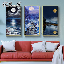 FULLCANG diy 3pcs/set diamond embroidery triptych moon night scenery painting 5d large mosaic full square/round drill FC1124