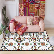 Fashion nation geometric flower Blue red green color Bedroom living room door mat Non-slip bedside plush rug customize carpet