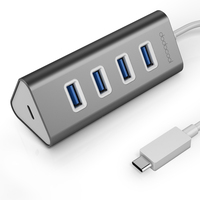 dodocool Aluminum USB Type C Male to 4 Port USB 3.0 Hub Adapter with USB C Female Charging Port PD for New MacBook and More Gold