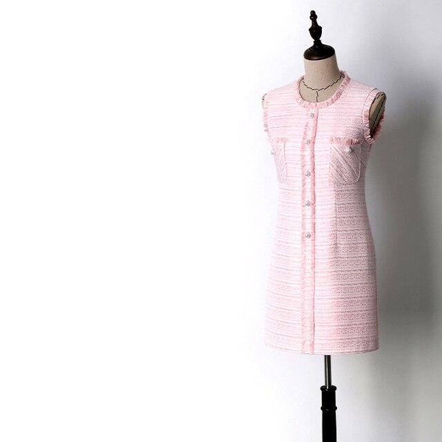 Women girls fashion cute pink striped tweed dress single breasted pearls  button sleeveless fringe dresses new 2018 autumn winter 7baaa7437020