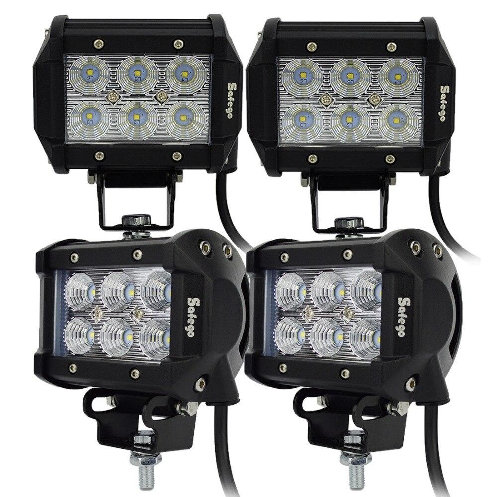 Safego 4 db-os autós ATV LED-sáv 18W-os LED munkavilágító - Autó világítás