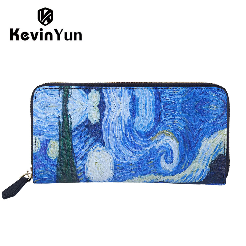 KEVIN YUN Designer Brand Women Wallets Synthetic Leather Purse Ladies Clutch Wallet Printed