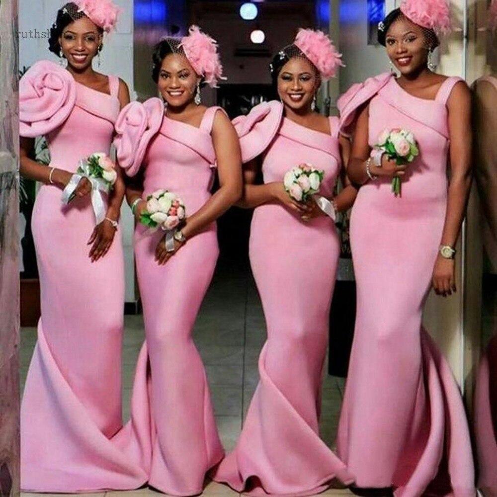 Robes de demoiselle d'honneur sirène rose africaine longue une épaule fleurs à la main robe d'invité de mariage robes de fête Festa