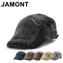 Jamont Retro algodón Newsboy Gorras para hombres cartas bordado Boina plana  sombrero del estilo británico pico visera masculina . 4ec79607fe7