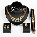 Wome ymengz venda quente mais nova marca de moda design de jóias de casamento banhado a ouro gota de água conjuntos de jóias de cristal na venda por atacado