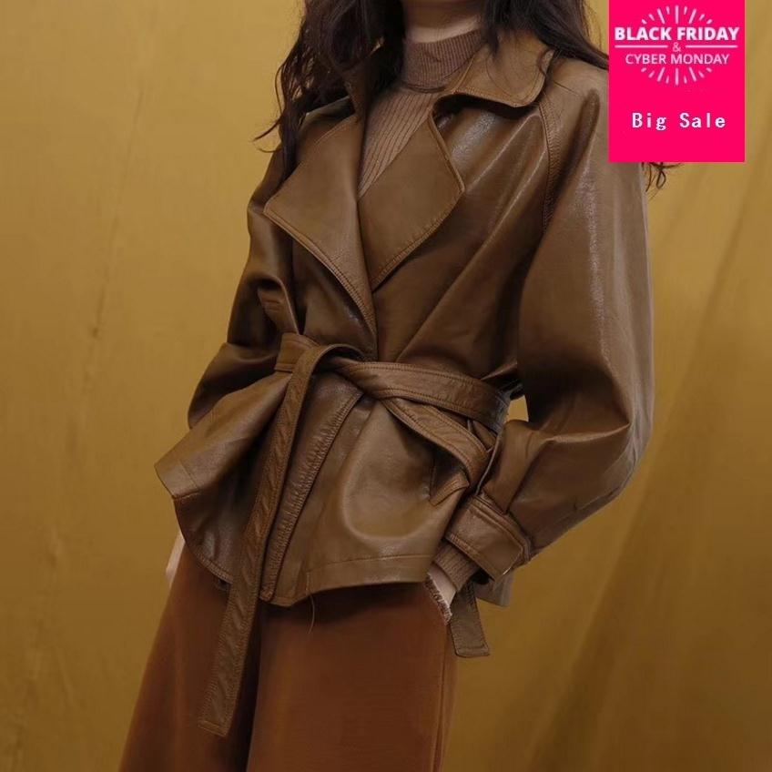 Wholesale the fashion brand PU   leather   bat style jacket female European stations motorcar style jacket with belt wj2736 dropship