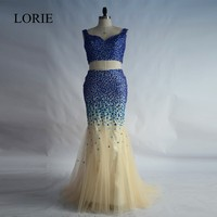 Rhinestones 2 Piece Prom Dresses 2017 Mermaid Robe de soiree Sexy Women Royal Blue Evening Party Gowns Formal Dresses Plus Size