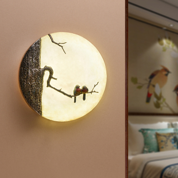 26W Modern chinese bird LED wall light living room bedroom bedside wall lamp Gallery corridor balcony wall sconce round bra
