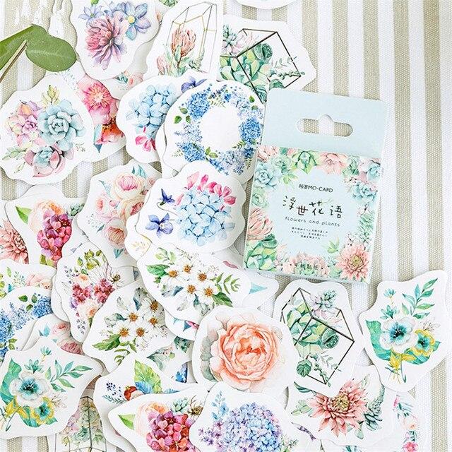 46 unids/pack Kawaii decoración japonesa flor pegatinas Scrapbooking copos diario lindo diario papelería suministros escolares