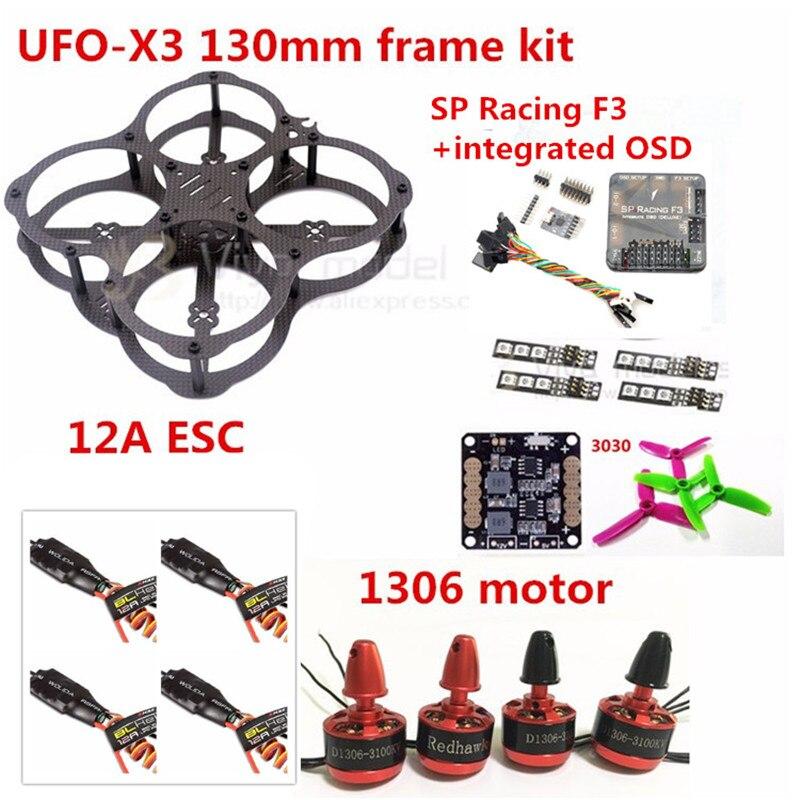 MINI DIY FPV UFO-X3 130mm Carbon Fiber Frame Kit+SP Racing F36DOF/10DOF+integrated OSD+3030 3 blade Propeller+1306 Motor+12A ESC diy 3k carbon fiber mini quadcopter qav250 fpv drones frame kit original emax mt2204 blheli 12a esc lji 5030 propeller
