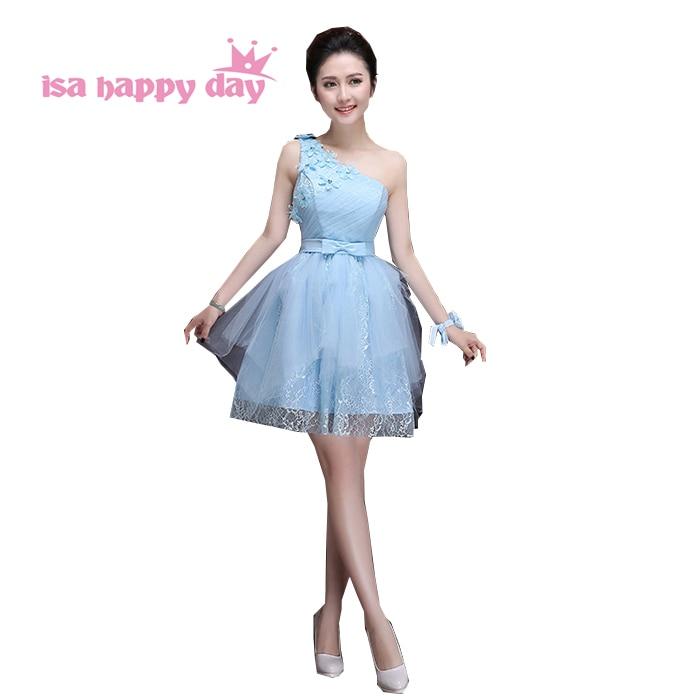 fe9e6c4db32e9 Ucuz güzel yetişkinler bebek mavi bir omuz tül gelinlik gelinlik genç  bridemaids elbise kız genç prenses balo H3383
