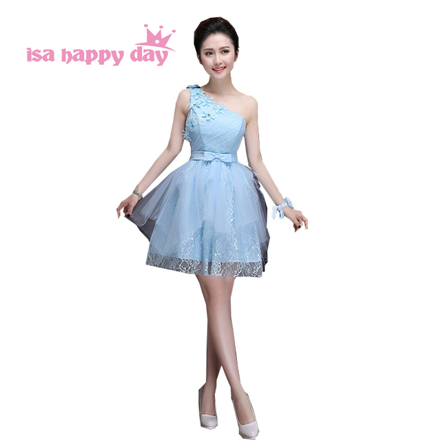 cheap beautiful adults baby blue one shoulder tulle bridesmaid ...