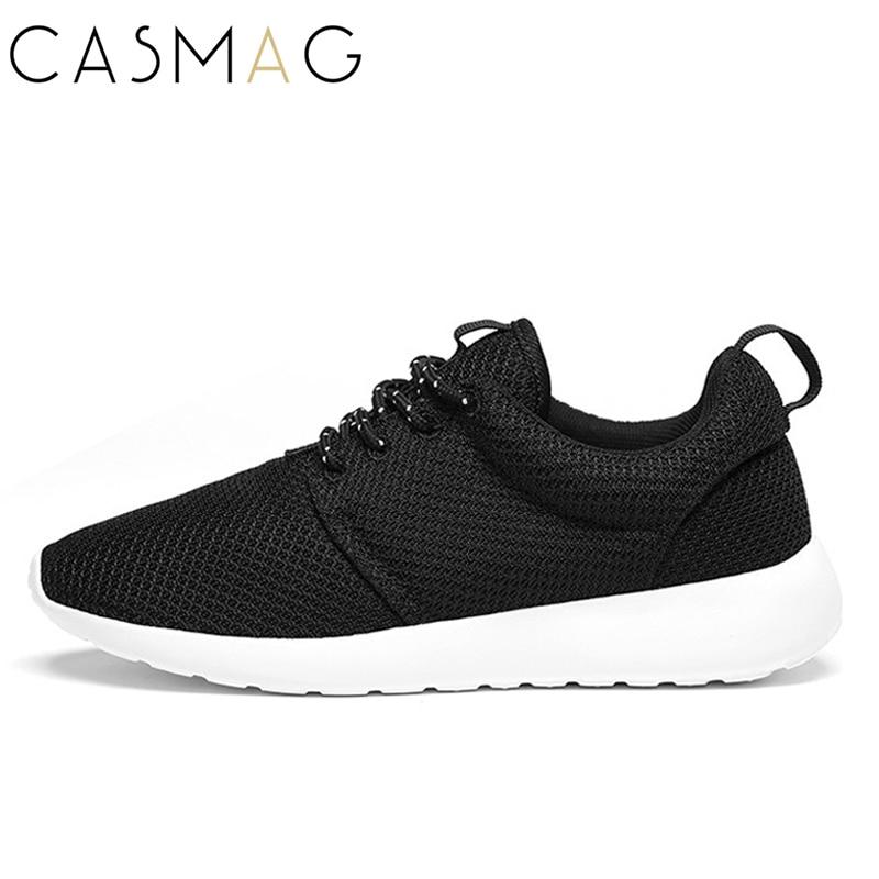 Casmag классический Для мужчин и Для женщин Спортивная обувь прогулочная Кружево до Обувь с дышащей сеткой Супер Легкий бег спортивный Кроссовки