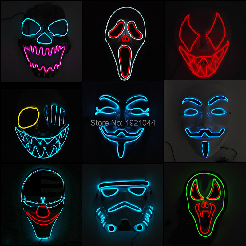 LED terror glowing Supplies 2019 scary Newest Halloween EL Festival Night Mask Neon wire DC-3V Party YEAHUI ghost 1