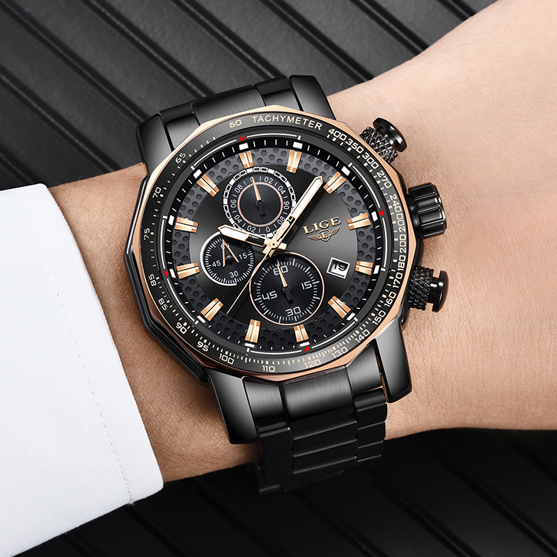 Nuevos relojes para hombre de 2019 LIGE, relojes de lujo deportivos de cuarzo, reloj de acero para hombre, reloj militar a prueba de agua, cronógrafo, reloj Masculino - 4