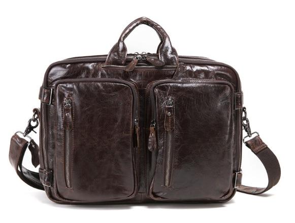 купить New Genuine Leather Large Capacity Briefcase Men Crossbody Bag Casual Vintage Shoulder Bag Simple Cool Retro Handbag L66 недорого