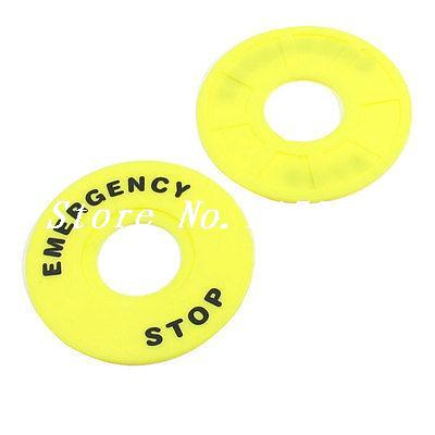 Yellow Plastic <font><b>60mm</b></font> x 22mm Push <font><b>Button</b></font> Switch Emergency Stop Ring image