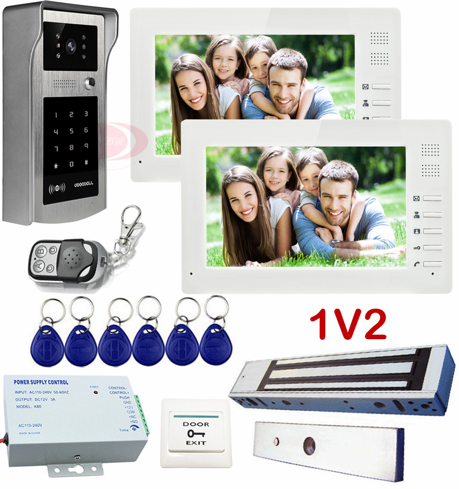 1V2 Door Phone System With Magnetic Door Lock Rfid/Code Unlock 7Inch Color CCD camera Video intercom 2 monitors IP55 waterproof 7inch 2 4ghz wireless intercom unlock video door phone with 3camera