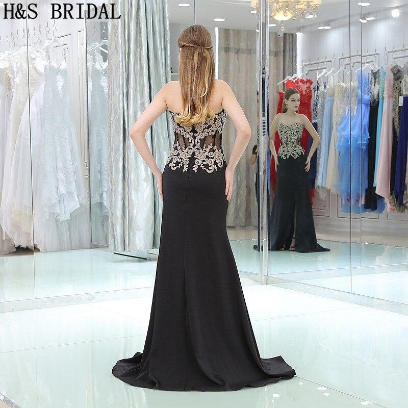 H & S BRIDAL Sweetheart Lace Applique Kralen Avondjurken vestidos de festa Chiffon Backless Avondjurk vestido longo - 2