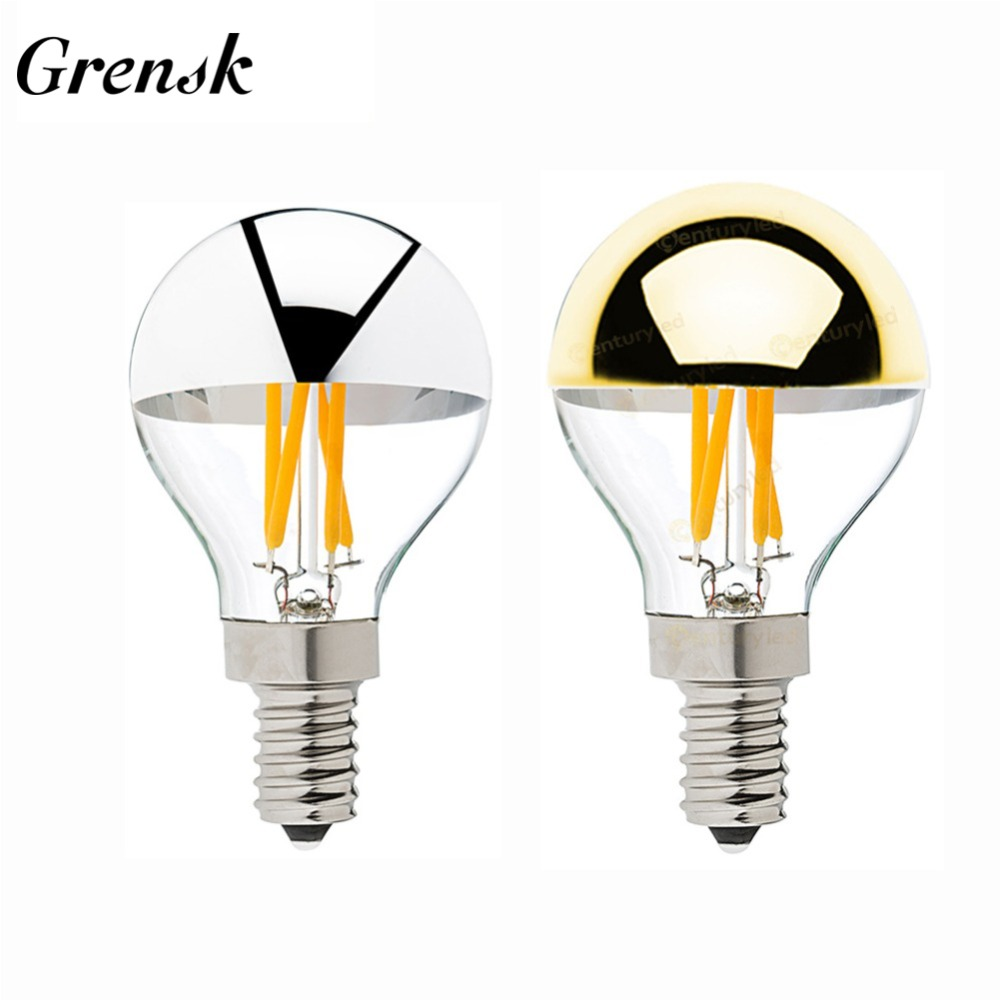 Grensk E14 Led Filament Dimmable Sliver Light Bulb G45 Gold Mirror Top Retro Globe Lamp 4W Led Edison Bulbs E12 Warm White 2700KGrensk E14 Led Filament Dimmable Sliver Light Bulb G45 Gold Mirror Top Retro Globe Lamp 4W Led Edison Bulbs E12 Warm White 2700K