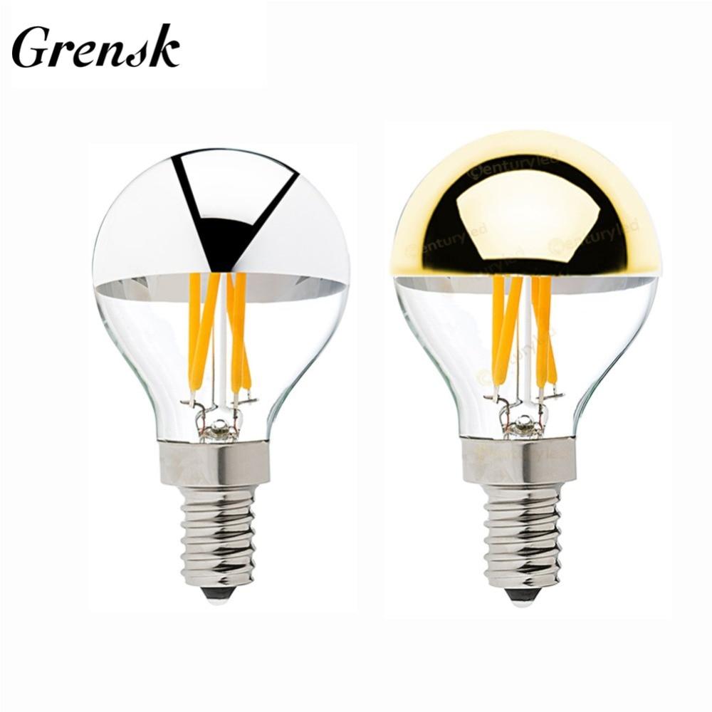Grensk E14 Led Filament Dimmable Sliver Light Bulb G45 Gold Mirror Top Retro Globe Lamp 4W Led Edison Bulbs E12 Warm White 2700K