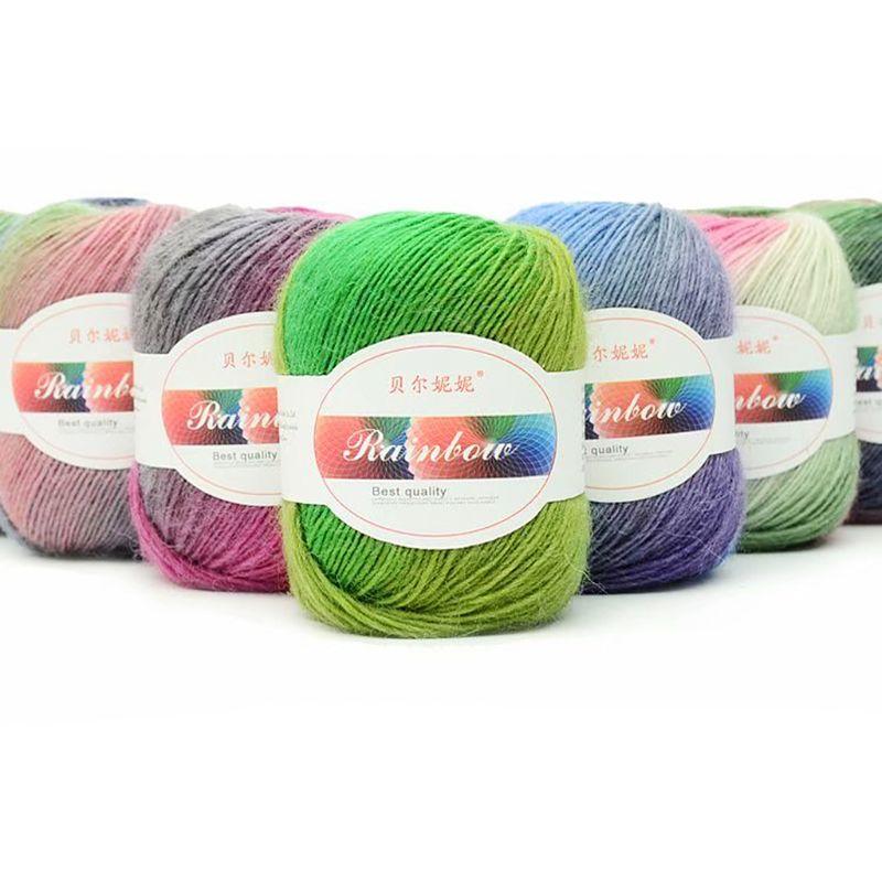 Soft Worsted Yarn Rainbow Gradient Colors DIY Baby Knitting Wool Shawl Scarf Sweater Crochet Thread Supplies